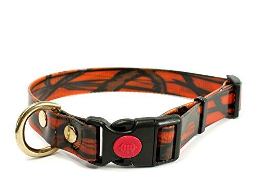 Mystique Biothane Safety Klick Halsband camo orange gold, Größe: 25mm x 30-40cm messing