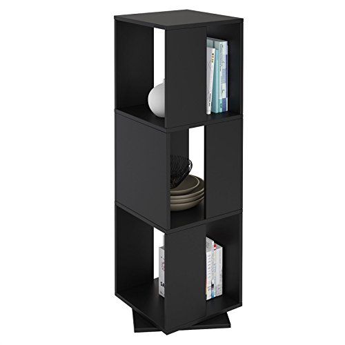 CARO-Möbel Drehregal KOPENHAGEN Bücherregal Standregal Dekoregal mit 3 Fächern in schwarz