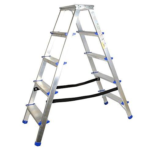 Alu Doppelstufenleiter 5 Stufen 100cm Plattformhöhe Mehrzweckleiter Multifunktionsleiter