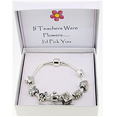 Teacher Themed Silver Charm Bracelet Pandora Style Gift Boxed 20cm