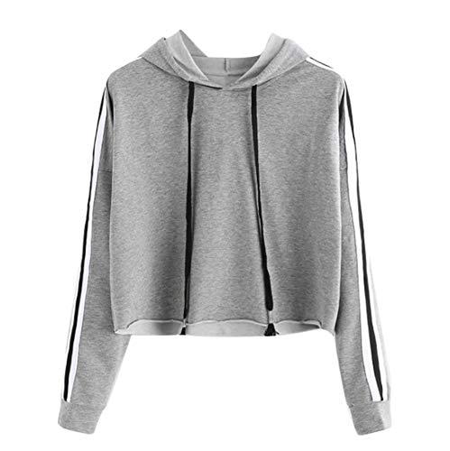 Felpe Corte Tumblr Ragazza Donna StrisceRagazza Felpa con Cappuccio Elegante Pullover Autunno Manica Lunga Crop Top Maglietta Cotone Camicette T