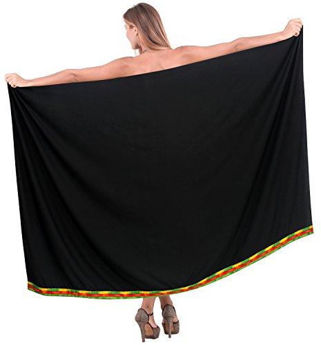 Badeanzug einpacken Damen Pareo Bademode Sarong hawaiische Abdeckung Badebekleidung Frauen Rock Baden schwarz (Baden-abdeckung Sarong)