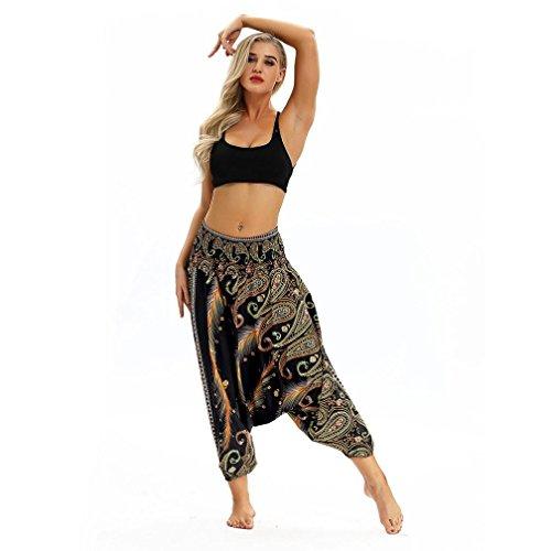 YULAND Haremshosen Frauen Damen Sommer Hosen Sommerhose Damen Hosen - Frau Beiläufige Lose Yoga-Hose Baggy Boho Aladdin Jumpsuit Harem Pants (Gelb) -