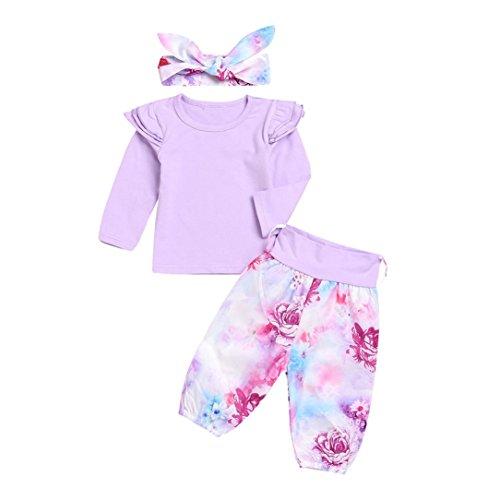 BeautyTop Baby Kleidung Set, 3pcs Neugeborene Kleinkind Baby Mädchen Langarm Geraffte Bluse Shirt Tops + Floral Hosen + Stirnband Outfits Kleidung Set (80/6-12 Monate, Lila) -