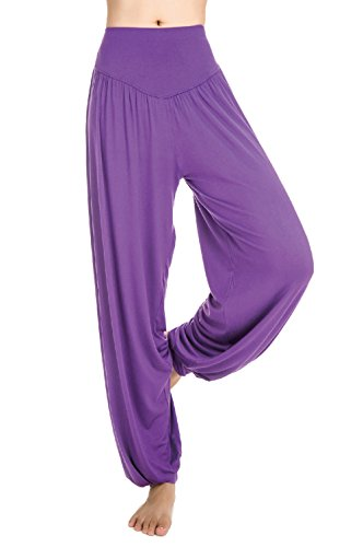 Scothen Mesdames pantalons survêtement Uma Pant doux pantalon spandex Yoga Pilates 16 couleurs sarouel bloomers sarouel confortable douce Yoga Modal Pant stretch Sport Aladin Lounge Pants Fitness Pourpre