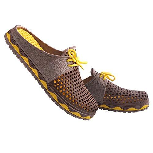 VWU Unisex Herren Damen Sommer Outdoor Breathable Mesh Backless Schuhe Strand Aqua Clogs Pantoletten Anti Rutsch Slip On Hausschuhe Beach Sandals Braun