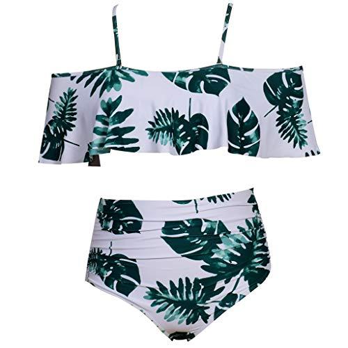 BBring Damen Sexy Blatt Muster Zweiteiliger Badeanzug Träger Schulterfrei Rüschen Bikini Bauchweg Hihg Taille Hose (XL, Grün)