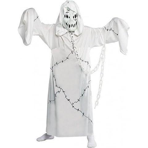 Enfants Garçon Filles Effrayant Cool Ghoule Fantôme Halloween Costume Déguisement 4-12 ans - Blanc, 8-10