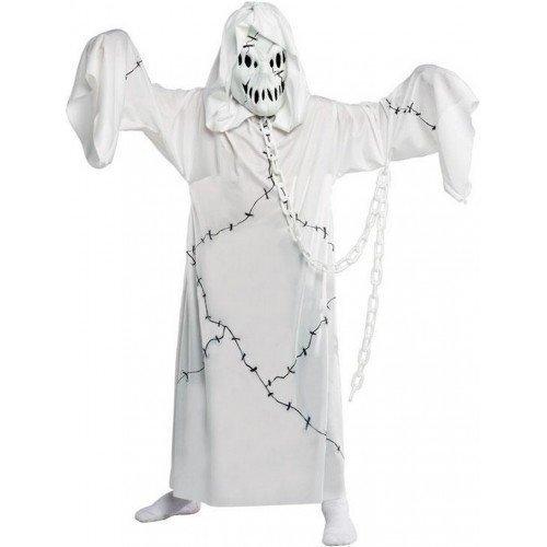 Jungen Mädchen Kinder Unheimlich Cool Ghul Halloween Gespenst Kostüm Kleid Outfit 4-12 jahre - Weiß, Weiß, 8-10 (Kapuzen Robe Ghost Kostüme)