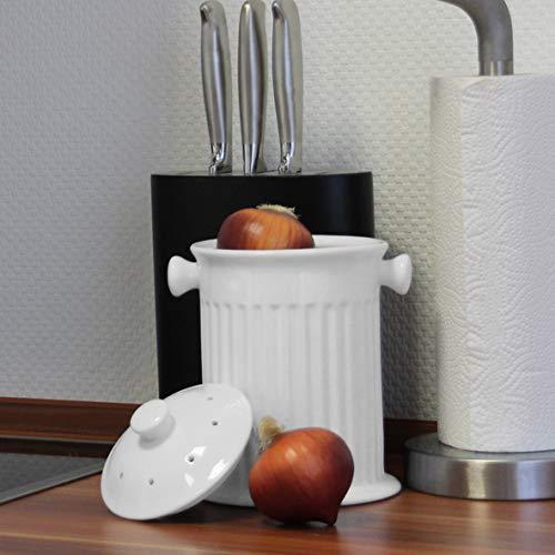Holst Porzellan Zwiebeltopf & Gemüsebehälter mit Lochdeckel, Porzellan, Gemüsebehälter, 22 cm