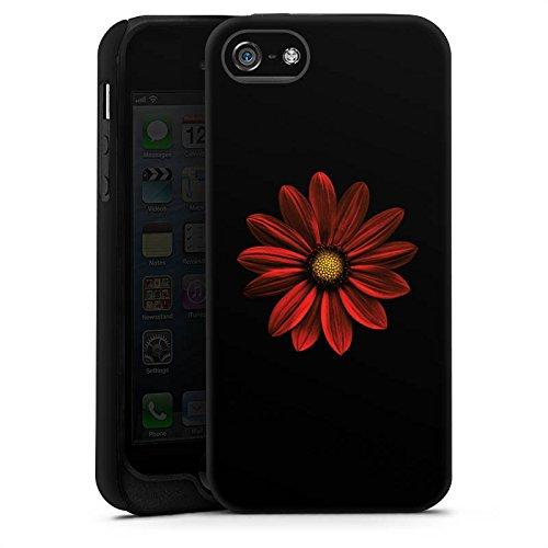 Apple iPhone 4 Housse Étui Silicone Coque Protection Fleur Fleur Rouge Cas Tough terne