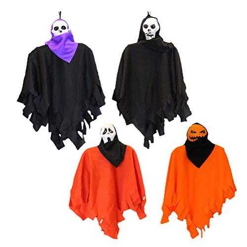 BESPORTBLE Halloween Schädel Geister Scary Creepy Hanging Spooky Dekoration Anhänger Requisiten 4PCS, zufällige Farbe