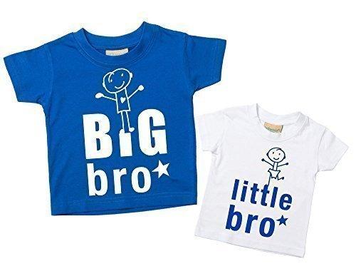 Big Bro Kleiner Bro T-shirt Set Bruder T-Shirt Brüder Baby Kleinkind Kinder blau oder rot verfügbar in den Größen 0-6 Monate bis 14-15 Jahre Neu Baby Schwester Geschenk – Blau, Klein 50-68, Groß 134-146