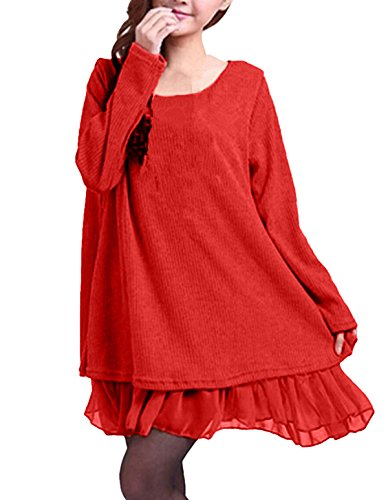 ZANZEA Damen Stricken Chiffon Lace Langarm Jumper Mini Kleid Pullover (EU 36 / US 4, Orange)