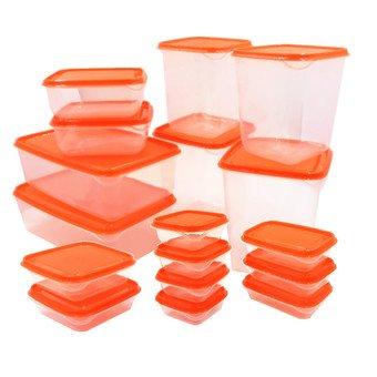 ikea-pruta-plastic-container-food-storage-containers-17-piece-set-orange-transparent