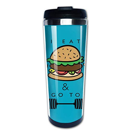 Reisebecher, Tumbler Vacuum Tassen, Auto Cup, 400ML Coffee Cups Print Portable Give Me Some Space Travel Mug For Home Office School Travel With Handle White -