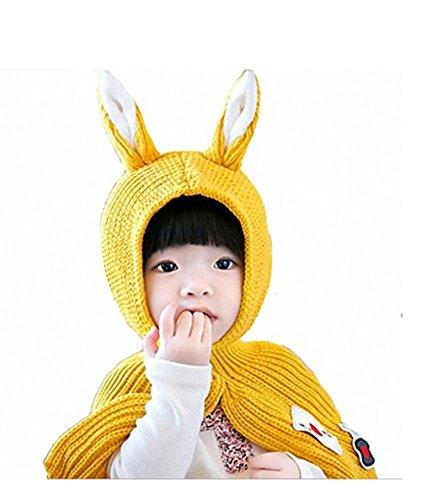 SevenPanda Kaninchen Ohren Winter Hut häkeln Cartoon Beanie Schal Stricken Lange weiche Wrap Schal Kinder Tier Party Kostüm Geschenk - Gleb