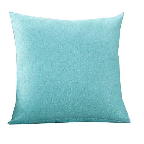 Funda de lino de lino de color liso,Subfamily®Moda simple Fundas de almohada Cafe Sofa Funda de cojín Decoración del hogar (4, Light Blue)