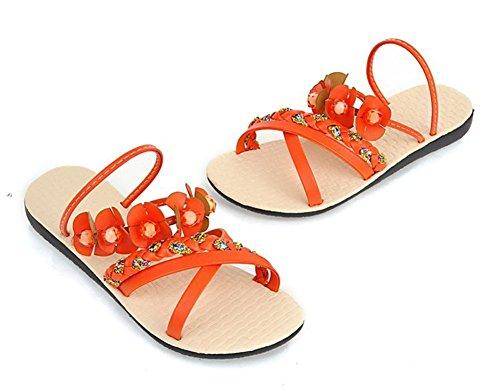 Aisun Femme Original Bohémien Fleur Talon Plat Sandales Orange
