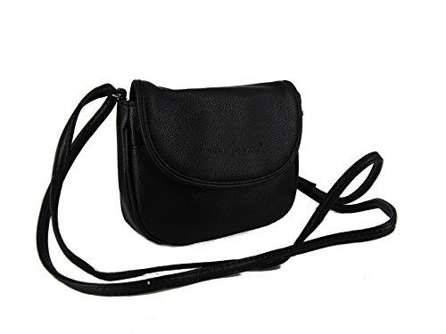 J3968 Kleine Damen Handtasche Umhängetasche 18 x 14 cm verschiedene Farben--präsentiert von RabamtaGO®-- (schwarz) (Messenger Collection-leder-kleiner)