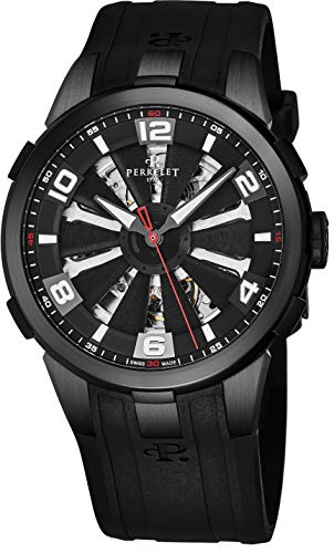 Perrelet Men's 44mm Black Rubber Band Steel Case Automatic Watch A1081-1