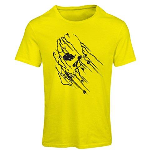 lepni.me Maglietta Donna Art Skull - Vintage t Shirts (Small Giallo