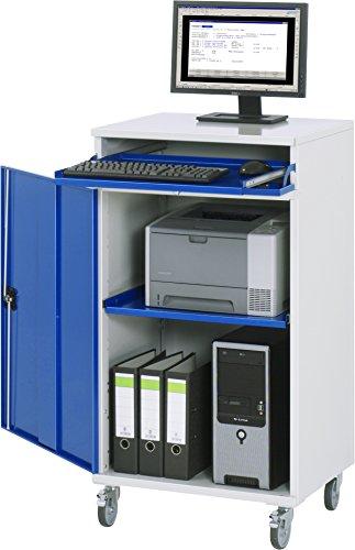 RAU Computer-Schrank, Metall, lichtgrau/enzianblau, 650 x 1185 x 520 cm
