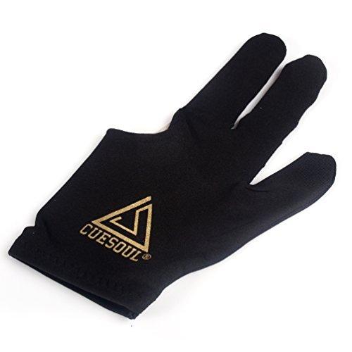 CUESOUL 10pcs / set 3-Finger-Handschuhe Billard Snooker Queue Handschuhe (Schwarz) -