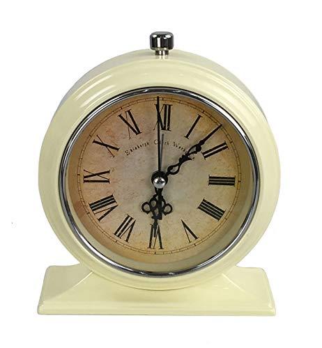 Tischuhr Nostalgie Antik Vintage Retro Metall Standuhr Dekowecker Uhr in Wecker Design (Creme 54-7)