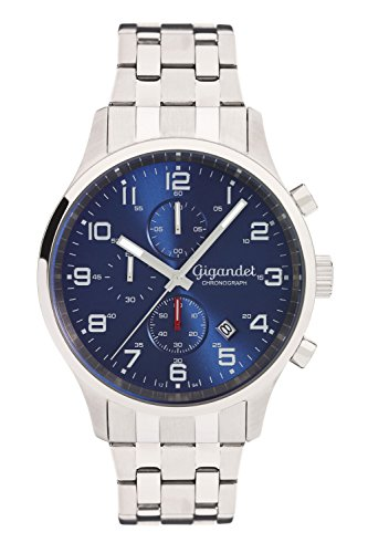 Gigandet Men's Quartz Watch Red Touch Analogue Chronograph Stainless Steel Bracelet Blue Silver G51-005
