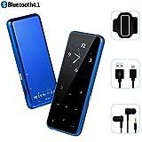 MP3-Player – hontaseng Tragbare Sport Bluetooth Metall Musik Player mit Touch Button, bis zu 60 Stunden Wiedergabe Zeit mit Armband, verlustfreie Sound mit Voice Recorder und FM Radio, erweiterbar 64 GB TF-Karte (blau)
