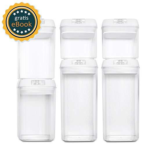 Basil | contenitori alimentari sottovuoto | set di 6 | barattoli in plastica senza bpa con coperchi sotto vuoto per alimenti - recipiente ermetico con per cereali, polvere, tè, caffè, pasta