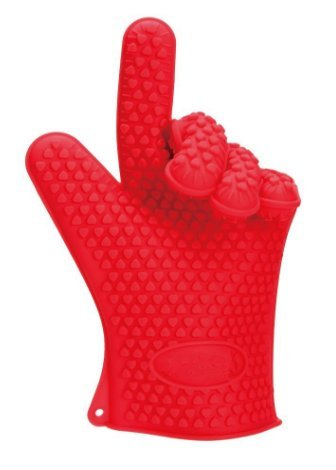 Leeg Topflappen – Silikon und Baumwolle Doppelschicht hitzebeständige Handschuhe/Silikon Handschuhe/Ofen Handschuhe/BBQ Handschuhe – perfekt zum Backen und Grillen(Red)