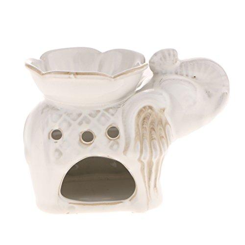 FLAMEER Sostenedor De La Vela del Colector De La Ceniza del Colector De La Ceniza del Ornamento De La Estatuilla del Elefante - Blanco, Individual