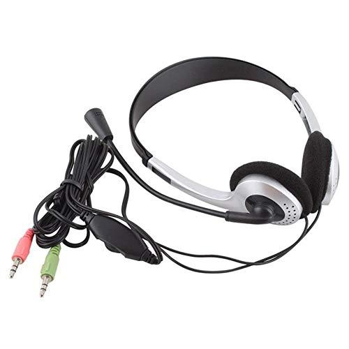 Kopfhörer mit Mikrofon MIC VOIP Headset Skype für PC Computer Laptop Sliver-schwarz