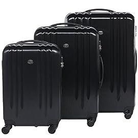 FERGÉ set di 3 valigie viaggio Marsiglia - bagaglio rigido dure leggera 3 pezzi valigetta 4 ruote nero