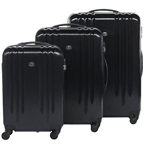 FERGÉ® Set di 3 valigie viaggio MARSIGLIA - leggero bagaglio rigido dure da 3 morbido tre pz. valigie con 4 ruote (multidirezionali 360°) nero