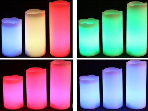 Juego de 3 aroma de vainilla mando a distancia Flamelesss velas LED que cambia de color con temporizador en 3 tamaños diferentes