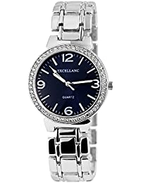 Trend de mujer Wares brillantes – Reloj de pulsera Azul Plata analógico cuarzo Metal Modern Crystal Mujer Reloj