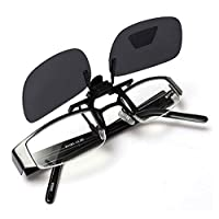 Sunglasses with a clip mounted on the glasses