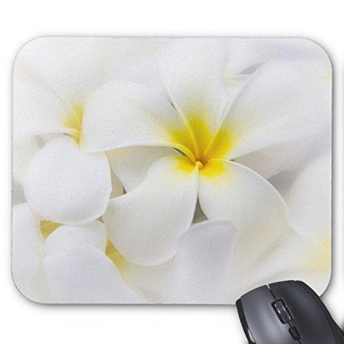 Preisvergleich Produktbild Pure weiß Plumeria Blume gelb Herz Mauspad STILVOLL, haltbar Mousepad Design mit Blumen Maus Pad schützt Desktop Maus Matte
