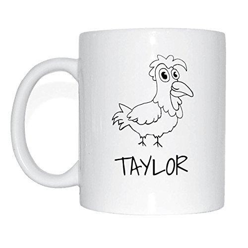 JOllipets TAYLOR Namen Geschenk Kaffeetasse Tasse Becher Mug PM5966 - Farbe: weiss - Design: Hahn Taylor Hahn