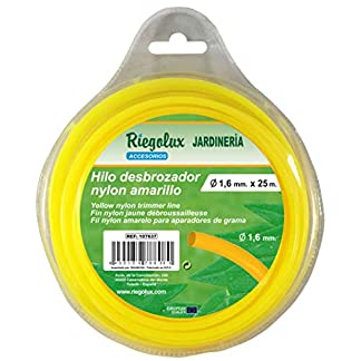 Riegolux 107637 Hilo Desbrozadora Nylon Redonda, Amarillo, 1.6 mm x 25 m