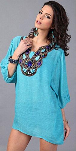Elegante Frauen Baumwollmischung Stickerei halbe Huelsen Loose Fit Top  blouser Hemd Gruene Bohnen