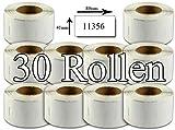 Bubprint 30x Etiketten kompatibel für Dymo 11356 S0722560 89x41mm, weiss SET