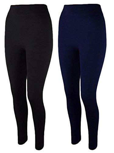 2x Damen Thermo Leggings Fleece gefüttert Leggins 3XL 4XL t05 (schwarz/dunkelblau)