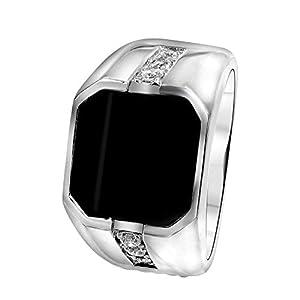 Lucardi – Silberner Siegelring für Herren mit Onyx und Zirkonia für Herren – Silber
