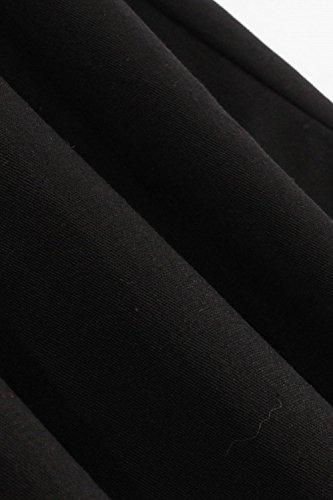 -Babyonline-Lang Sommer Herbst Drei-Farben-Trilogie Retro Cocktailkleid Faltenrock Abendkleider Freizetkleider Schwarz mit Weiß,Schwarz