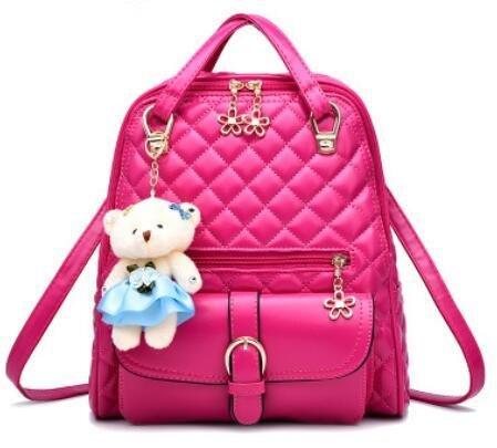 LDMB Damen-handtaschen PU Leder mehrfarbig Vertikalschnitt Frauen Freizeit kleiner Bär Rucksack rose red