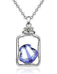 PENG Collar Mujer Plata De Ley 925 Colgante Moda Simpleregalos Navidad Drift Botella Cristal Collar Colgante Collar Corto Decoradas…
